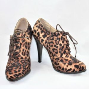 Forever 21 Leopard Lace Up Oxford Booties